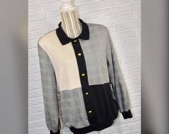Vtg 80s Alfred Dunner Multipaneled Collared Sweater