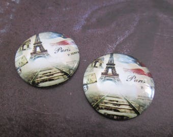 2 cabochons round glass 20 mm Eiffel Tower # 1