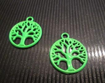 2 charms / pendants tree of life green neon 20 * 24mm
