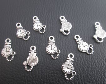 10 Charms Watch metal FOB silver 17 mm x 10 mm