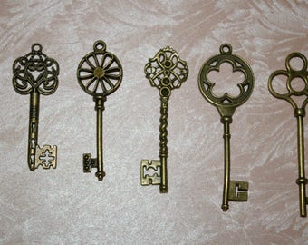 5 key charms bronze 5, 5 7.8 cm #2