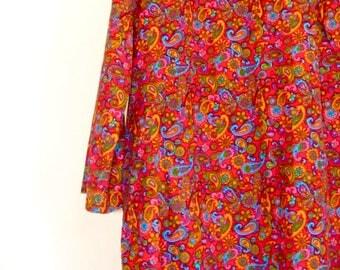 rainbow paisley corduroy dress |VINTAGE 1970s|