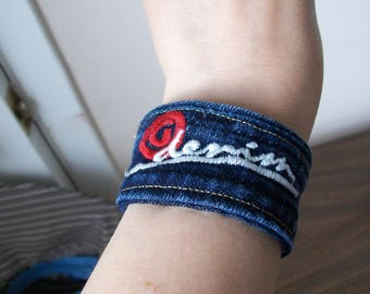 bracelet made of recycled jeans