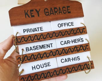 Vintage Key Garage + Wall Mounted Six-Key Holder with Keychains + Clever Retro Decor + House Organization + Key Storage + His and Hers