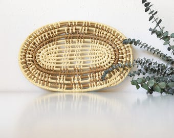 Vintage Handwoven Coil Raffia Trivet Wall Hanging + Beige Brown Neutral + Southwest Tribal Boho Bohemian Jungalow Decor + Naturally Modern