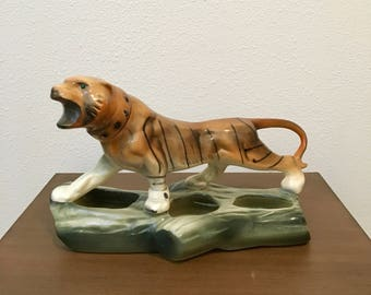 Mid Century Modern Bengal Tiger Planter / Vintage Tiger Sculpture / Ceramic Tiger Planter Centerpiece