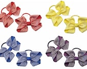Summer gingham checked hair bows on thick hair bobbles, school gingham hair bows in a choice of colours, thin hair ties, girls summer bows