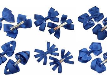 Royal blue grosgrain ribbon hair bows on alligator clips, crocodile clips, Girls school hair accessories, royal blue hair accessories