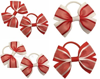 Red and white organza and grosgrain ribbon hair bows on thick bobbles, Girls red and white hair accessories, Party hair bows and accessories