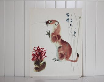 Weasel Poster, Animal Picture, Original Vintage Poster, Authentic, Made Czechoslovakia, Animal Print, Home Decor, nursery, childrens room