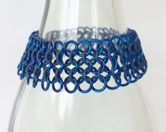Stretch European 4-1 Chainmail Bracelet with blue rubber and aluminum jump rings, Stretchable Cuff bracelets, Tessa's chainmail