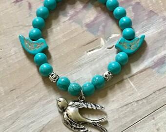 Turquoise beaded sparrow bracelet, sparrow bird charm, turquoise sparrow slide bead bird spacers, turquoise beads