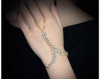 Silver Flower Crystal Hand Chain Bracelet