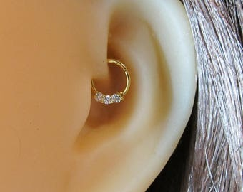 Gold Plated Over Surgical Steel Daith,Helix,Cartilage Piercing Hoop with cz's 18g,,8mm