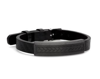 Carbon Fiber Genuine Leather ID Adjustable Bracelet with Stainless Steel 7-9.5""