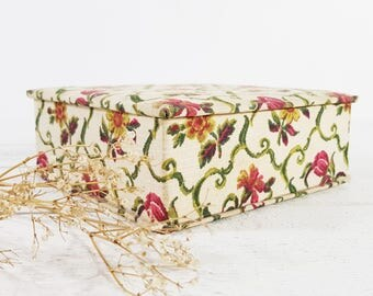 French Fabric Sewing Box, Boudoir Box, Flower Box Vintage, Floral Box, French Box, Craft Storage, Craft Box, Retro Box  - E921