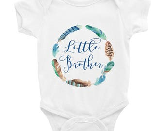 Little Brother Feather Circle Infant Bodysuit/Little Brother Shirt/ Newborn Little Brother