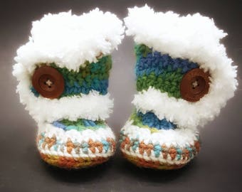 Baby Mukluks - Crochet Baby Booties-Baby Boy Clothes - Baby Photo Prop - Newborn Baby - Newborn Girl Coming Home Outfit