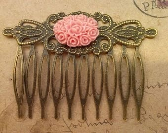 Hair comb - flower-
