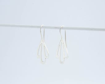 Silver Petal Drop Earrings