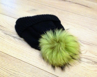 Cashmere Hat Beanie Real Fur Pompom Black Hat  Winter Ski Clothing 100% Cashmere ribbed-nit beanieie with foldover cuff Slouchy knit Beanie