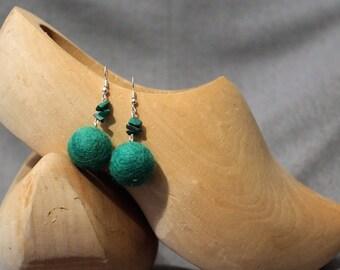 Wool Felt Earrings with Gemstones