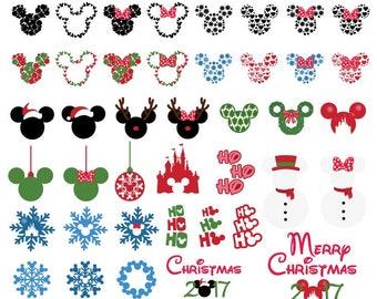 Mickey Minnie Christmas SVG Bundle Santa Elf Reideer Rudolph svg dxf jpeg format layered cutting files clipart die cut cricut silhouette