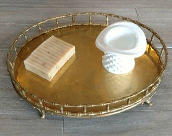 Brass Tray / Bamboo Accent Brass Tray / Bamboo / Brass Vanity Tray / Brass Accent / Tray