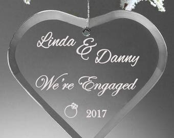 We're Engaged Glass Ornament - Engagement Gift - We're Engaged - Engagement Ornament - Gift for Engagement - Engagement Glass Ornament -