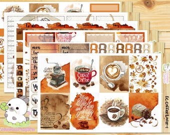 Coffee Lover / Coffee  Weekly Full Kit/ Planner stickers for Use with Erin Condren Vertical Life Planner/Happy Planner