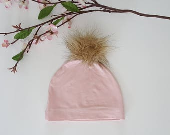 Baby girl hat, baby girl beanie hat, fur ball beanie hat, pink knit stretch hat, light weight baby hat, spring baby girl hat, spring beanie