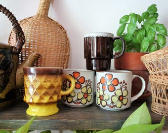 Vintage Mix of Retro Ceramic Coffee Mugs, Boho Mugs, Coffee Cups, Mug Collection, Floral Mugs, Fire King Mug, Mixed Set, Bohemian, Eclectic