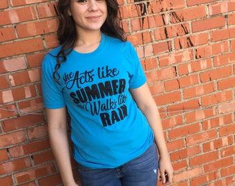 Acts like summer shirt, ladies shirt, turquiose womens tee shirt, tom petty inspired shirts, music inspired