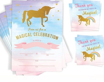 Unicorn Themed Party Invitations and Favor Tags - pack of 20