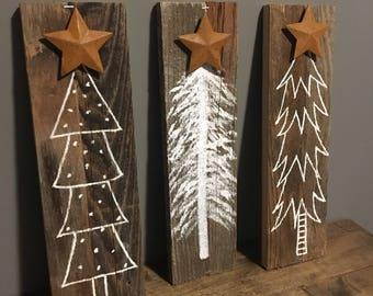 Set of 3 barnwood tree signs