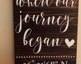 Where Our Journey Began Sign // Coordinates Sign // Rustic Sign // Custom Sign // Home Decor // Wedding Sign // Wood Sign //