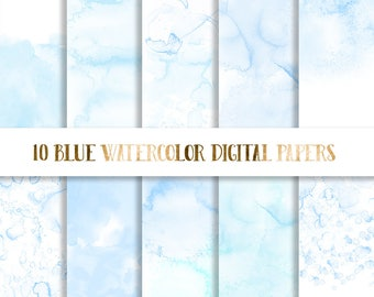 3 FOR 8 Blue Watercolor Digital Paper,  baby blue watercolor paper, watercolor texture, watercolor background, scrapbooking paper watercolor