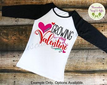 Growing My Valentine Raglan T-shirt , Mom to be, Mother to be, Valentine Shirt, Valentine Pregnant, Pregnancy, Maternity