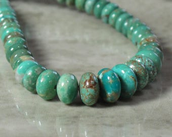 Turquoise Rondelle Beads - Graduated - Natural Stone Beads - Blue Green Stone - Item 423