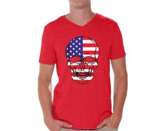 USA Flag Skull Shirt V-neck T shirt Tops Independence Day 4th of July American Flag Sugar Skull