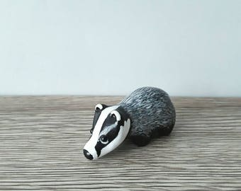 Badger miniature handmade hand painted polymer clay animal figurine totem sculpture ornament.