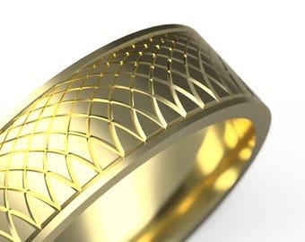 Yellow Gold Women/Men Wedding Band, 6mm Wide Polished 14k Recycled White Gold Wedding Ring - Unisex Ring Gold Ring - Women Wedding Band/ring