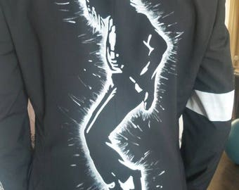 Men's sports jacket, black, size 47/M.  Back panel with Michael Jackson silhouette painted.