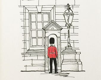 London Art, Original Drawing, Royal Guard, Urban Art, Buckingham Palace, Queens Guard Drawing, London Sketch,Urban Sketch,London City Sketch
