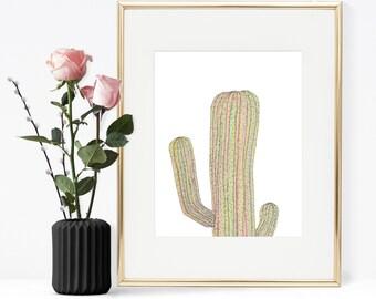 Cactus illustration, Cacti art, Rainbow cactus,  Printable Wall art, Printable illustration