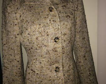 Beautiful Nieman Marcus vtg Agnona Italian tweed cream brown blazer women's