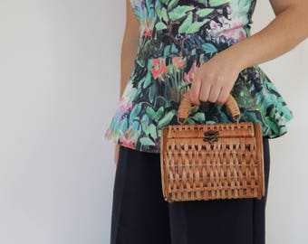 Wicker purse, wicker bag, wicker handbag, panier en osier, panier rond, cesta de mimbre, Weidenkorb, round basket bag, korgkorg, rieten mand