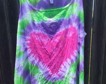 Custom Tie Dye Heart Tank