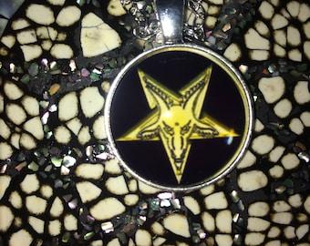 Silver Satanic Pentagram Yellow Baphomet Necklace