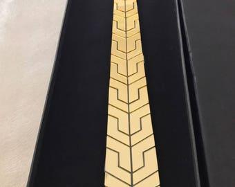 Dapper Ultra Modern Gold Tie -  Honeycomb Style (Hex Suit Accessories - NeckTie,Neck tie Modern tie Geometric tie Honeycomb Unique hypersol)